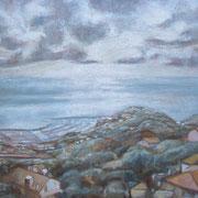 """Nuvole su Varazze"" - tecnica mista su cartone telato cm. 40 x 30 – € 70,00"