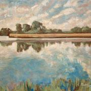 """""""Riflessi"""", studio - olio su tavola cm. 30 x 24 - Caponago, collezione privata"""