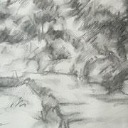 """""""Mattina sul lungonaviglio"""" - carboncino su carta cm. 21 x 29,7 – € 70,00"""
