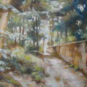 """""""Passeggiata al Parco di Monza"""" - olio su cartone telato cm. 24 x 30 - Monza, collezione privata"""