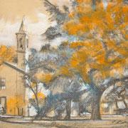 """""""Santa Maria"""", studio - tecnica mista su carta cm. 26,5 x 16 - Cernusco sul Naviglio, collezione privata"""