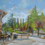 """""""Pomeriggio al vivaio"""" - olio su cartone telato cm. 30 x 40 - Cernusco sul Naviglio, collezione privata"""