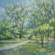 """""""Cernusco, pomeriggio lungo il naviglio"""" - olio su tela cm. 40 x 50 - Cernusco sul Naviglio, collezione privata"""