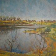 """""""Mattina d'inverno alla cava"""" - olio su tela cm. 50 x 60 – Monza, collezione privata"""