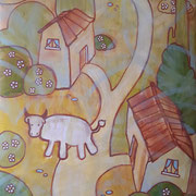 """Paesaggio in verde con mucca bianca"" - tecnica mista su carta, cm. 30 x 40 - € 75,00"