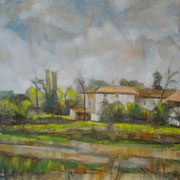"""""""Cascine a Vignate, autunno"""" - olio su tavola cm. 30 x 40 - Cernusco sul Naviglio, collezione privata"""
