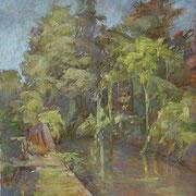 """""""Solleone sul Lungonaviglio"""", olio su pannello telato, cm. 24 x 30 - € 50,00"""