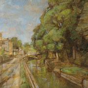 """""""Il Naviglio a Cernusco"""", olio su tela, cm. 40 x 50  - Carugate, collezione privata"""