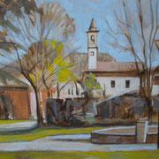 """""""Mattina a Santa Maria"""" - olio su cartone cm. 30 x 20 - Cernusco sul Naviglio, collezione privata"""