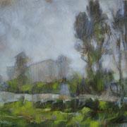 """""""Nebbia a Cernusco"""" - olio su tavola cm. 24 x 30 - Caponago, collezione privata"""