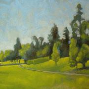 """""""Mattina al Parco di Monza"""" - olio su tavola cm 22,5 x 40 – Cernusco sul Naviglio, collezione privata"""