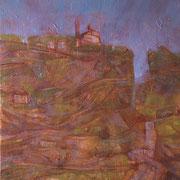 """""""Arrivando al paese"""", olio su cartone telato, cm. 30 x 40 – € 100,00"""