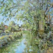 """""""Mattina di luce sulla Martesana"""" - olio su tela cm. 50 x 50 – Lissenrbroek (The Netherlands), collezione privata"""