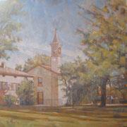 """""""Primavera a S. Maria"""" - olio su tela cm. 50 x 50 - Cernusco sul Naviglio, collezione privata"""