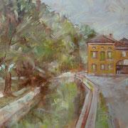 """""""Principio d'autunno sulla Martesana"""" - olio su carta cm. 30 x 40 – Carugate, collezione privata"""