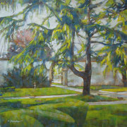 """""""Nel giardino di Villa Biancani Greppi"""" - olio su tela cm. 40 x 40 – € 150,00"""