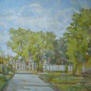 """""""Solleone ai Giardini all'Italiana""""- olio su tela cm. 40 x 40 – Milano, collezione privata"""