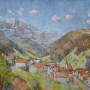 """""""Selva di Valgardena"""" - olio su tela cm. 45 x 60 - Bassano del Grappa, collezione privata"""