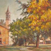 """""""Grande Santa Maria"""" - tecnica mista su tela cm. 100 x 158 - Carugate, collezione privata"""