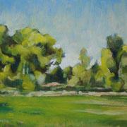 """""""Campagna a Cernusco"""" - olio su tavola cm. 24 x 30 - Cernusco sul Naviglio, collezione privata"""