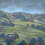 """""""Paesaggio toscano"""" - tecnica mista su tela cm. 40 x 50 – € 150,00"""