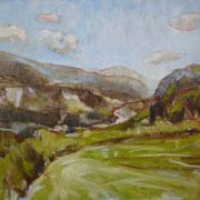 """""""Solleone in Val di Fiemme, a Cavalese"""" - olio su cartone telato cm. 30 x 40 - € 100,00"""