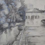 """""""Dopo la pioggia"""" - carboncino su carta con lumeggiatura a biacca cm. 21 x 29,7 – € 70,00"""