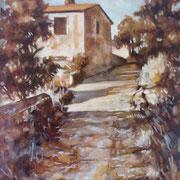 """""""Salita"""" - acrilico su pannello telato cm. 24 x 30 - Monza, collezione privata"""