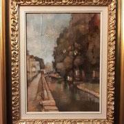 """""""Passeggiata sul Lungonaviglio"""" con esempio di cornice, olio su tavola, cm. 30 x 40 - € 300,00"""