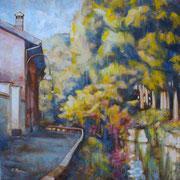 """""""La curva di Santa Maria"""" - tecnica mista su tavola cm. 40 x 40 - Rovigo, collezione privata"""