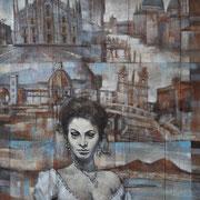"""Souvenir d'Italie"", tecnica mista su tela, cm. 40 x 50  - € 1200,00"