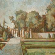"""""""Giardini all'italiana"""", studio - olio su tavola cm. 30 x 24 - Caponago, collezione privata"""