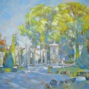 """""""Dopo la pioggia, ai Giardini all'Italiana"""" - olio su tela cm. 50 x 50 – Cernusco sul Naviglio, collezione privata"""
