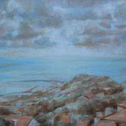 """""""Nuvole su Varazze"""" - tecnica mista su carta cm. 40 x 30 - Siena, collezione privata"""
