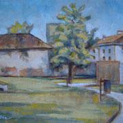"""""""I giardini della biblioteca"""" - olio su cartone telato cm. 24 x 18 - Cernusco sul Naviglio, collezione privata"""