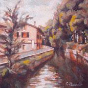 """""""Piccolo naviglio"""" - tecnica mista su tavola cm. 19 x 20 – San Colombano al Lambro, collezione privata"""