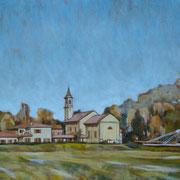 """""""I prati di Santa Maria"""" - olio su tela cm. 50 x 35 - Pratola Peligna, collezione Avis"""