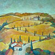 """""""Paesaggio toscano"""" - acrilico su tela cm. 80 x 120 - Monza, collezione privata"""