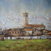 """""""San Giorgio a Limito"""" - olio su tela cm. 60 x 60 – Besana Brianza, collezione privata"""