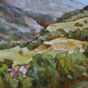 """Fondovalle a Cavalese"" - olio su tavola cm 30 x 40 - € 100,00"