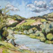 """""""Sull'Avisio, a Cavalese"""" - olio su cartone telato cm. 30 x 40 - Cernusco sul Naviglio, collezione privata"""