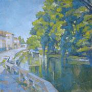 """""""La Martesana a Cernusco"""" olio su tela cm. 50 x 50 – Cernusco sul Naviglio, collezione privata"""
