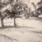 """Parchetto a Cavalese"" - carboncino su carta cm. 21 x 29,7 – € 60,00"
