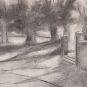 """""""Alla Pieve, a Cavalese"""" - carboncino su carta cm. 21 x 29,7 – € 60,00"""