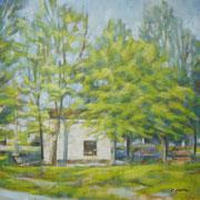 """""""Primavera a San Rocco"""" - olio su tela cm. 40 x 40 - Cernusco sul Naviglio, collezione privata"""