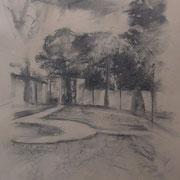 """""""Memoria dei Giardini all'Italiana"""" - carboncino su carta colorata, cm. 35 x 50 - € 80,00"""