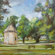 """""""Parco della Pieve a Cavalese"""" - olio su cartone telato cm. 18 x 24 - Cernusco sul Naviglio, collezione privata"""