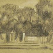 """""""Giardini all'italiana"""" - carboncino su carta paglierina con lumeggiatura a biacca cm. 24,5 x 34 – € 80,00"""