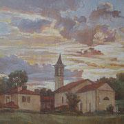"""""""Tramonto a Santa Maria"""" - olio su tela cm. 20 x 30 – Cernusco sul Naviglio, collezione privata"""