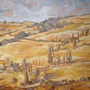 """""""Tour d'Italie: Toscana, i cipressi di Montichiello""""- olio su tela cm. 50 x 60 – Besana Brianza, collezione privata"""